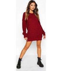 crew neck sweater dress, wine