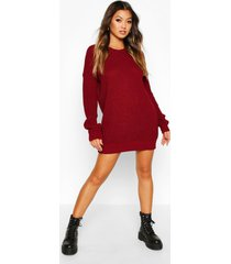 crew neck sweater dress, wine