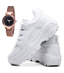 tênis sapatênis casual plataforma asgard com relógio gold feminino db 728lbm branco