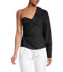 rta women's chiara one-shoulder top - black - size xs