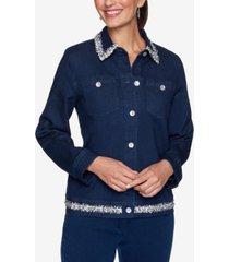 alfred dunner women's plus size denim friendly boucle trim jacket