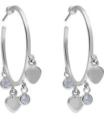 orecchini in argento rodiato con cuori e zirconi per donna