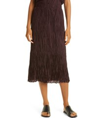 eileen fisher crushed silk habutai tiered skirt, size large in cassis at nordstrom