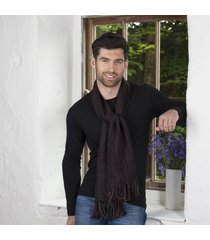 irish alpaca wool scarf black-red