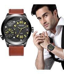 lujo reloj cuarzo smael doble dials creativo hombre casual