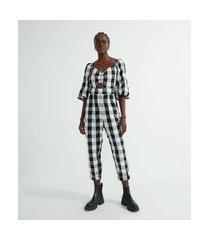 macacão em algodão xadrez com manga bufante e franzido no busto | blue steel | preto | p