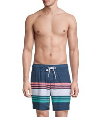 sperry men's striped volley swim shorts - navy - size xl