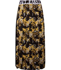 versace jeans couture waist logo pleated skirt