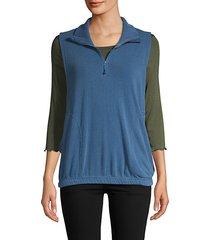 spread collar half-zip vest