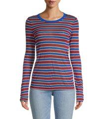 rag & bone women's avery striped long-sleeve top - red stripe - size xs