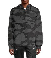 men's puma x the hundreds camo reflective wind jacket - black - size xxl