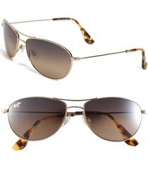 maui jim baby beach 56mm polarizedplus2(r) aviator sunglasses in gold/tortoise at nordstrom