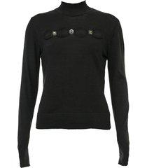blusa carmim tricot botões preta