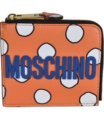 moschino embossed logo zip-around wallet