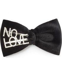 'no love' velvet bow hair clip