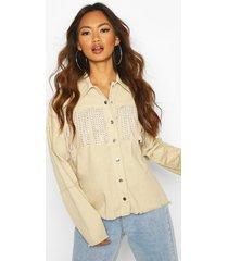 studded tassell front denim shirt jacket, stone