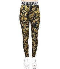 versace jeans couture leggings black, gold paisley print