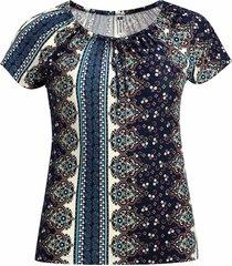 blusa pau a pique ciganinha manga curta azul - azul - feminino - dafiti