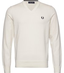 classic cott. v/n jmpr stickad tröja v-krage vit fred perry