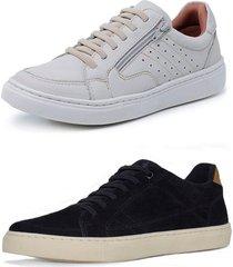 kit 2 sapatenis sandalo soft off white basic preto