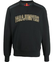 parajumpers logo front quilted sweatshirt - black