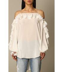 ermanno scervino top ermanno scervino silk blouse with lace ruffles