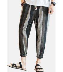 harem casuale allentato stampato a strisce traspirante a strisce stile nazionale mens pantaloni