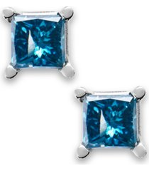 10k white gold blue diamond stud earrings (1/6 ct. t.w.)