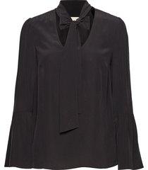 bell slv silk top blouse lange mouwen zwart michael kors
