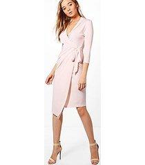 alison wrap front 3/4 sleeve midi dress