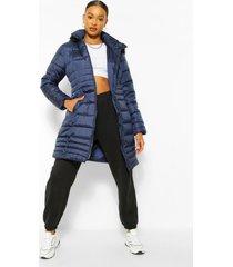 lange gewatteerde jas met faux fur zoom, navy