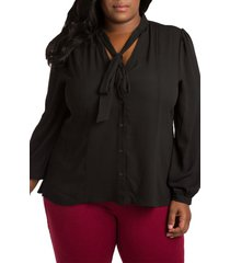 plus size women's poetic justice tasha tie neck chiffon blouse