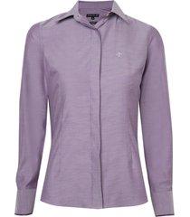 camisa dudalina manga longa cetim fio tinto feminina (roxo claro, 46)
