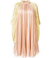 alberta ferretti pleated high-neck dress - pink