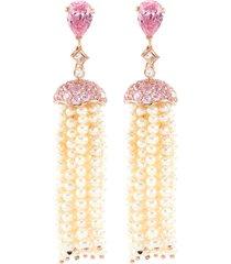 diamond gemstone freshwater pearl tassel earrings