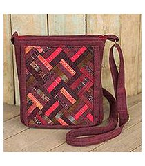 cotton shoulder bag, 'red siam' (thailand)