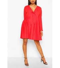 maternity tie pleated dress, red