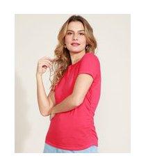 blusa feminina básica com elástico lateral manga curta decote redondo rosa escuro