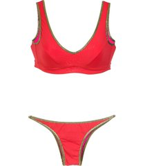 amir slama gold-tone trimming bikini set - red