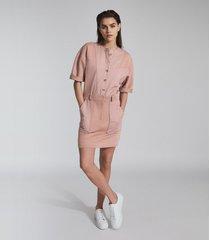 reiss emlyn - panel detail sweatshirt dress in pink, womens, size 14