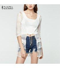 zanzea verano de las mujeres de manga larga bordada cardigan encajes de ganchillo capa de la chaqueta tops encubren -blanquecino