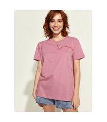 "t-shirt feminina mindset obvious respeite sua jornada"" manga curta decote redondo rosa escuro"""