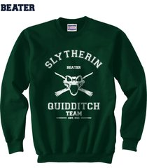 beater old slytherin quidditch team white ink unisex sweatshirt deep forest