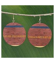 wood dangle earrings, 'rugged beauty' (brazil)