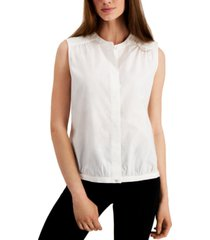 alfani mandarin-collar bubble shirt, created for macy's