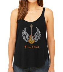 la pop art women's premium word art flowy tank top- lyrics to freebird