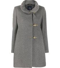 fay high neck duffle coat - grey