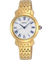 seiko women's essentials gold-tone stainless steel bracelet watch 29.2mm