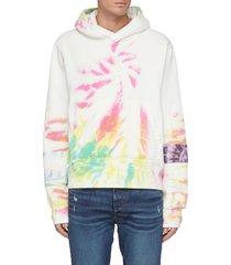 tie dye patchwork cotton hoodie