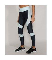 calça legging feminina esportiva ace color block com bolso chumbo